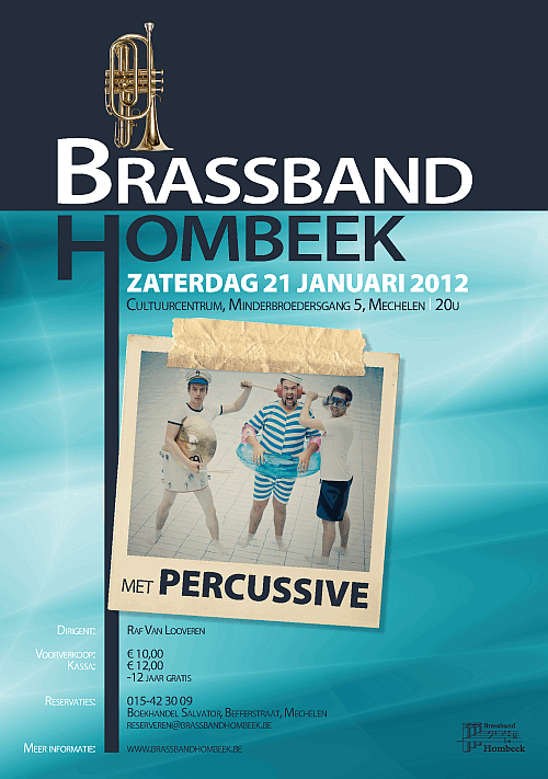 Affiche concert Brassband Hombeek en Percussive